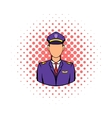Captain of the aircraft icon comics style vector image vector image