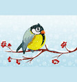 cartoon bird tit on branch rowan tree vector image