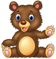 Cartoon happy bear presenting vector image vector image