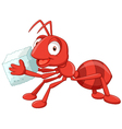 Cartoon red ant carrying sugar vector image