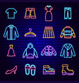 clothes neon icons vector image