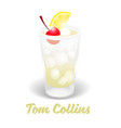 cocktail tom collins vector image vector image
