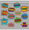 comic patch sound effects in pop art style vector image