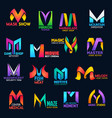 creative color design corporate identity m icons vector image vector image