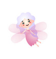 cute girl in fairy costume with pink wings flying vector image vector image