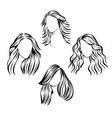 face icons with hair vector image vector image
