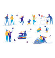 family friends outdoor activity winter fun set vector image vector image