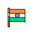 flag india flat color line icon isolated on vector image vector image