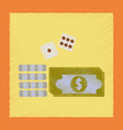 flat shading style icon money dice chips vector image vector image