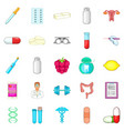 gmo icons set cartoon style vector image vector image