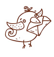 Hand Drawn Bird with Mail vector image
