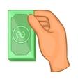 Hand holding dollar bills icon cartoon style vector image vector image
