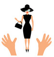 hands reaching to woman in black hat bag vector image