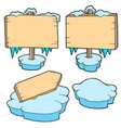 icy wooden signs vector image vector image
