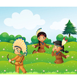 Indian children playing in the fields vector image vector image