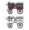 isolated carriage or britzchka contour perth cart vector image vector image