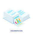 isometric stack documents with an approved vector image vector image