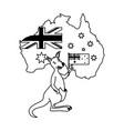 kangaroo with hat australian flag map vector image vector image