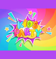 kids party banner on rainbow background vector image vector image