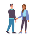 male and female different races handshaking vector image