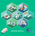medicine hospital concept isometric view vector image vector image