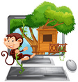 Monkey climbing up the treehouse on computer vector image vector image
