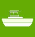 motor boat icon green vector image vector image
