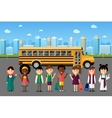 Multinational kids going to school vector image vector image