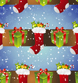 New year pattern with sock for gifts and gift vector image vector image