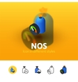 NOS icon in different style vector image vector image