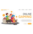 online gaming landing page or banner template in vector image