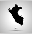 Peru country map simple black silhouette on gray