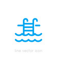 pool icon linear on white vector image vector image