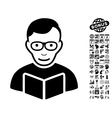 Reader Flat Icon With Bonus vector image vector image