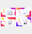 reportage landing page template set tiny reporter vector image vector image