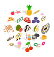 restaurant food icons set isometric style vector image vector image