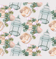 roses flowers and cage pattern background vector image vector image
