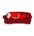 santa claus sleeps on couch rest before work vector image vector image