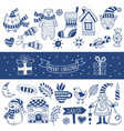 set of happy christmas icons vector image