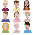 Set of nine young children vector image vector image