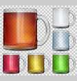 set of transparent glass cups vector image