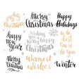 Set of winter hand drawn phrases vector image vector image