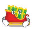 smirking santa claus sleigh in shape cartoon vector image