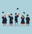 student graduation man and woman in mantles vector image