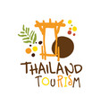 thailand tourism logo template hand drawn vector image