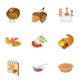 thanksgiving feast icons set cartoon style vector image vector image