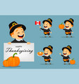 thanksgiving greeting card with canadian man vector image