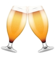 Two beer glasses clink vector image