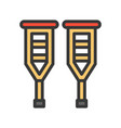 walker sticks simple filled outline icon vector image vector image