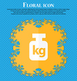 Weight icon Floral flat design on a blue abstract vector image vector image